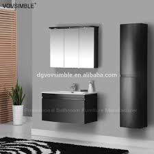 wall mounted mdf matte black painting bathroom vanity set for