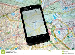 paper maps modern mobile maps vs traditional paper maps for navigation stock