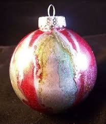 ornaments with acrylic paint inside and ink outside