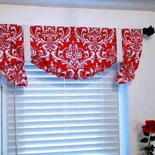 Damask Kitchen Curtains by Tie Up Curtain Valance Bold Red And White By Supplierofdreams