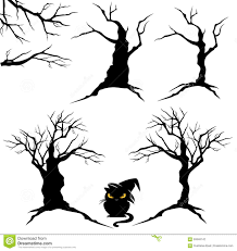 black trees for halloween halloween trees set stock vector image 56948142