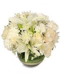 auburn florist white bowl vase of flowers in auburn ny foley florist