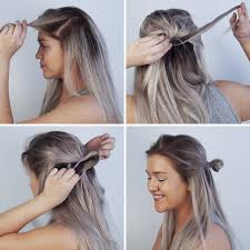 dark ashy blonde verging on grey ombre effect with dark roots and