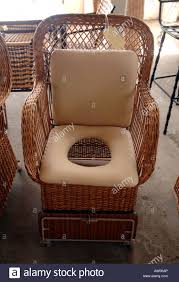 wicker chair commode toilet lavatory stock photo royalty free