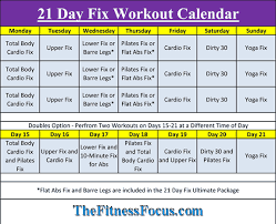 printable workout plan calendar 21 day fix workout schedule portion control diet sheets
