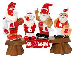 amazon com wisconsin badgers garden gnome fans on bench