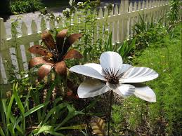garden decor flower sculpture flower metal garden
