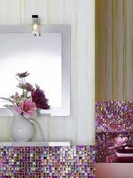 Pink Tile Bathroom Contemporary Bathroom Decorating Ideas Bright Purple And Pink