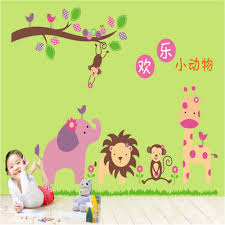 Wall Decoration For Preschool by Cartoon Animal Vinyl Wall Stickers For Kids Rooms Children Home
