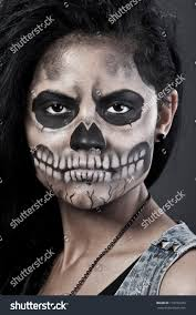 woman mask halloween young woman day dead mask skull stock photo 116279263 shutterstock