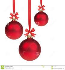 christmas ribbons and bows three christmas balls hanging on ribbon with bows stock photo