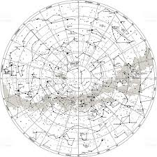 Sky Maps Detailed Sky Map Southern Hemisphere With Names Of Stars Stock