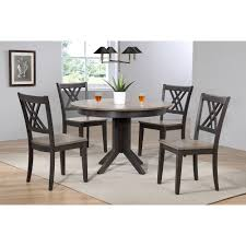 iconic furniture free shipping authorized dealer 5 pieces contemporary dining set double x back wood seat gray stone