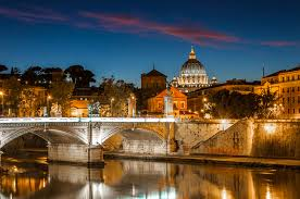 pictures rome italy bridges night rivers street lights cities houses