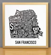 san francisco map framed san francisco neighborhood map 12 5 x 12 5 classic black white
