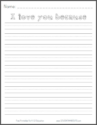 i love you because writing prompt worksheet student handouts