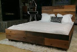 Wood Frame Bed Reclaimed Wood Bed Frame With Reclaimed Wood Bed With Log