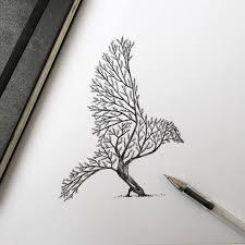 bird tree ink bird drawing alfredbasha