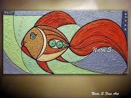 Fish Home Decor Accents Original Fish Painting Abstract Textured Large Artwork