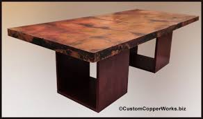 Copper Dining Room Tables Remarkable Ideas Copper Dining Table Chic Design Copper Top Room