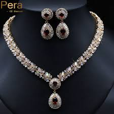 diamond necklace red images Diamond jewelry sets with red crystal stone jpg