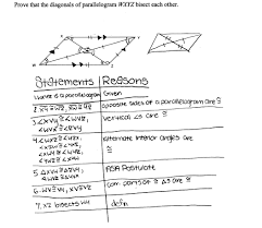 properties of parallelograms worksheet proving parallelogram diagonals bisect students are asked to prove
