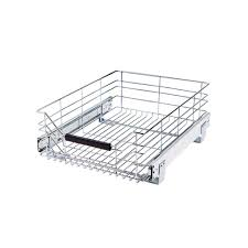 home depot kitchen cabinet organizers seville classics 14 in w x 17 75 in d pull out sliding steel wire cabinet organizer drawer she16228b the home depot