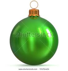 New Years Eve Hanging Decorations by Christmas Ball Decoration Green Happy New Stock Illustration