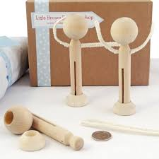 parts for three wooden peg dolls with arms dolly pegs with