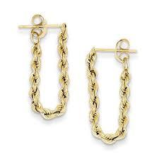 14k gold earrings rope chain drop earrings in 14k gold gold earrings earrings