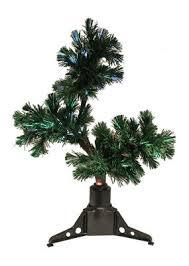 2 pre lit fiber optic bonsai style artificial pine tree