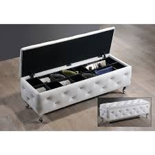 baxton studio crystal tufted upholstered storage bench in white