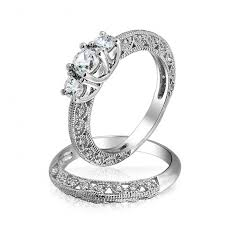vintage wedding ring sets vintage 3 cz wedding anniversary ring set 925 silver