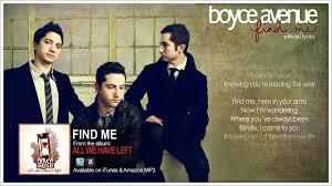 find me a boyce avenue find me lyric original song on apple