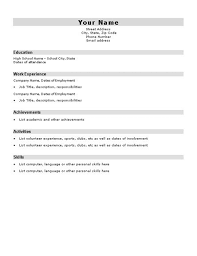 Resume For First Job For Students by Blank Resume Template For High Students U003ca Href U003d