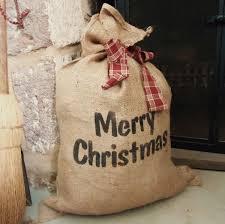 christmas burlap gift bag country christmas large burlap