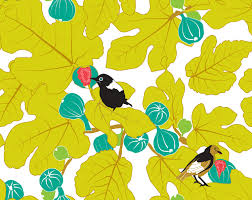 home decor fabric with leaves and cute birds