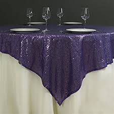 table overlays for wedding reception amazon com balsacircle 72x72 inch purple sequined table overlays