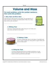 units of measurement worksheets volume and mass