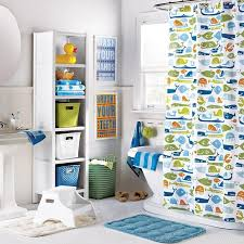 Kids Bathroom Shower Curtain Fascinating Kids Bathroom Decorating Ideas With Oval White Bathtub