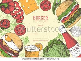 colorful burgers ingredients burgers vector illustration stock