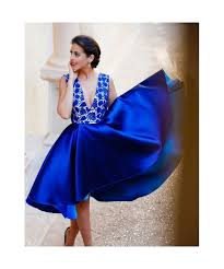 2017 royal blue cocktail dresses deep v neck lace satin hi lo knee