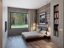 bedroom large window grey wall vertical folding curtain big