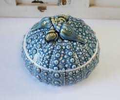 blue ceramic sea urchin bowl with lid jewelry box coastal