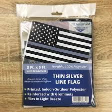 Thin Blue Line Flag Thin Silver Line American Flag 3 X 5 Foot Flag With Grommets