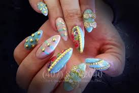 floral gold studs u0026 3d bows nail design on stiletto nails