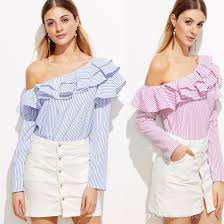 ruffle blouses 2018 one shoulder ruffle blouses and shirts blue