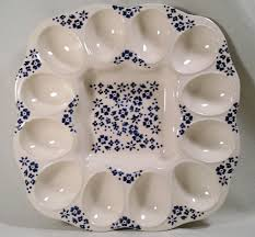 white deviled egg plate signed farval portugal deviled egg tray white blue flower platter