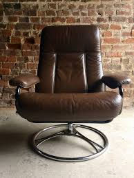 Swedish Leather Recliner Chairs Swedish Brown Leather Armchair Lounge Reclining Swivel Söderbergs