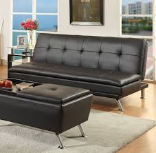 modern black white faux leather adjustable futon sofa bed